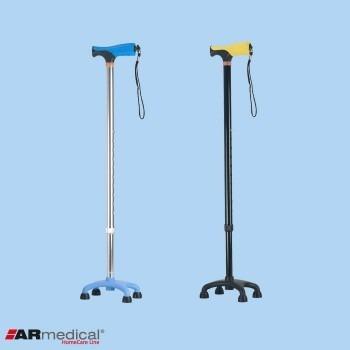 Laska inwalidzka czwórnóg niski z miękkim uchwytem, aluminiowa