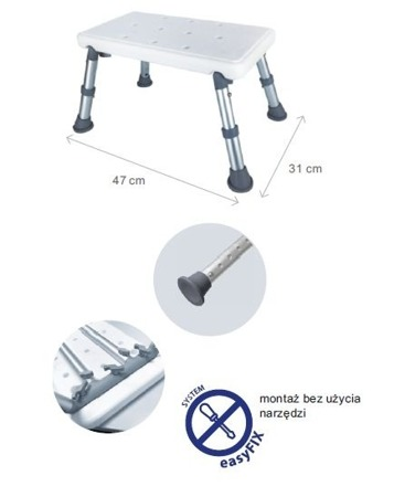 Podnóżek - taboret prysznicowy aluminiowy